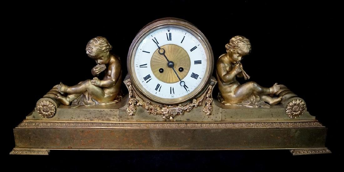 19TH C. FRENCH BRONZE CHERUB FIGURAL CLOCK
