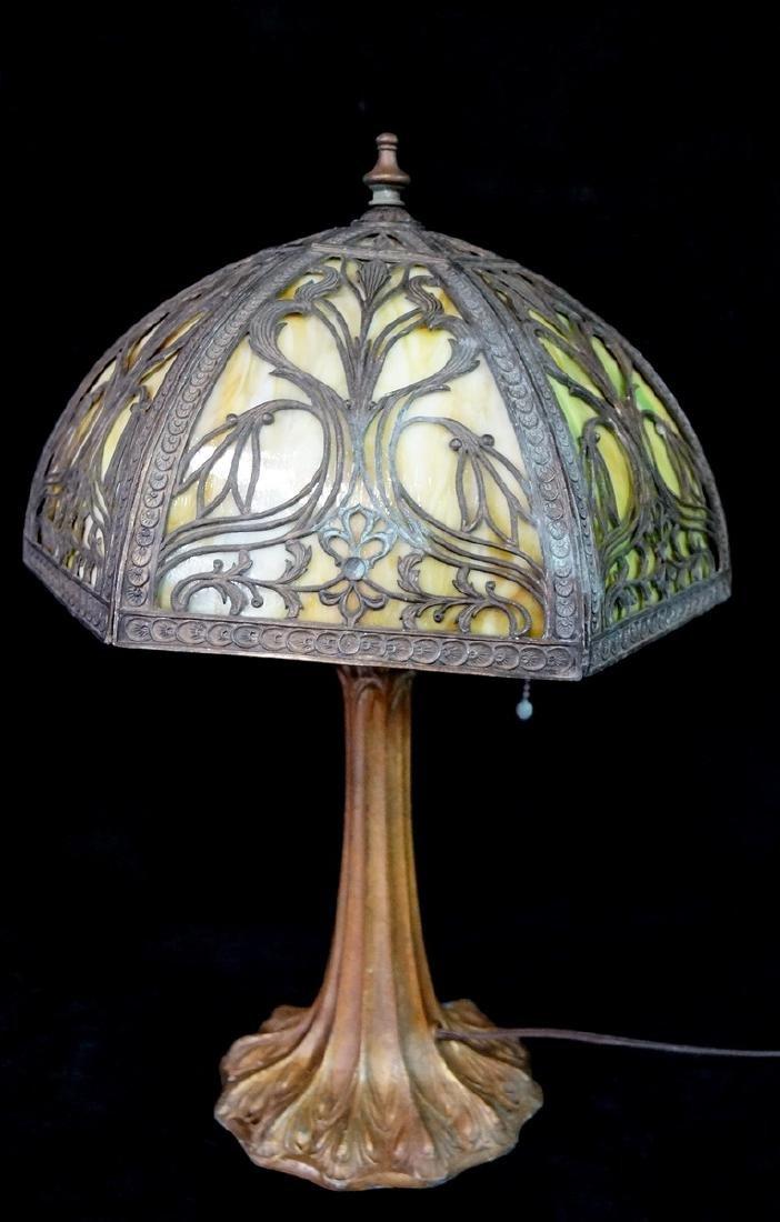 6 PANEL SLAG GLASS & METAL OVERLAY LAMP
