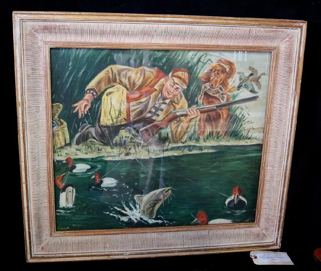 "OIL ON CANVAS ILLUSTRATION ""HUNTER W/ HIS DOG, FISHING"""