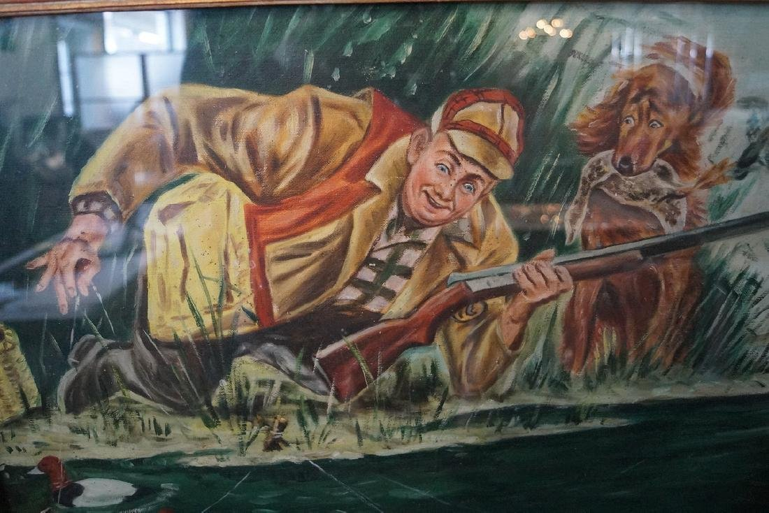"OIL ON CANVAS ILLUSTRATION ""HUNTER W/ HIS DOG, FISHING"" - 3"