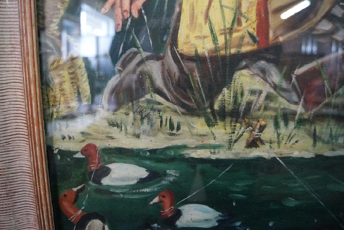 "OIL ON CANVAS ILLUSTRATION ""HUNTER W/ HIS DOG, FISHING"" - 4"
