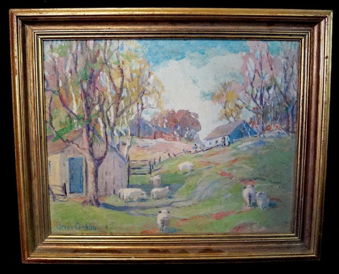 "JESSIE CONKLIN SGN. O/B  ""SHEEP IN A PASTURE NEAR FARM"""