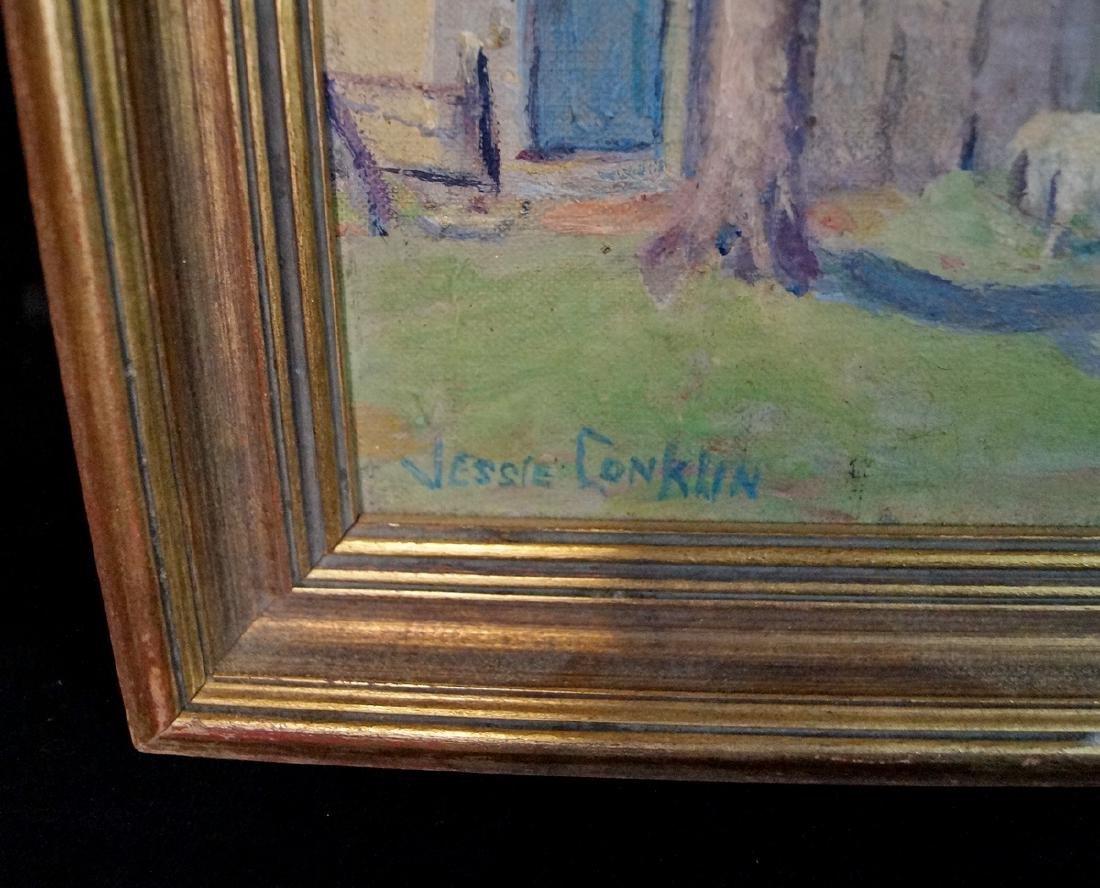 "JESSIE CONKLIN SGN. O/B  ""SHEEP IN A PASTURE NEAR FARM"" - 2"