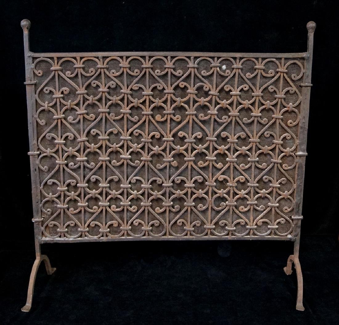 ANTIQUE WROUGHT IRON FIRE SCREEN