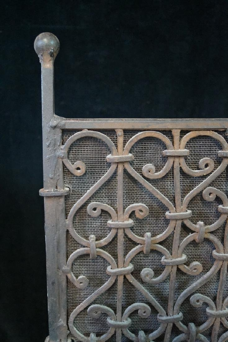 ANTIQUE WROUGHT IRON FIRE SCREEN - 2