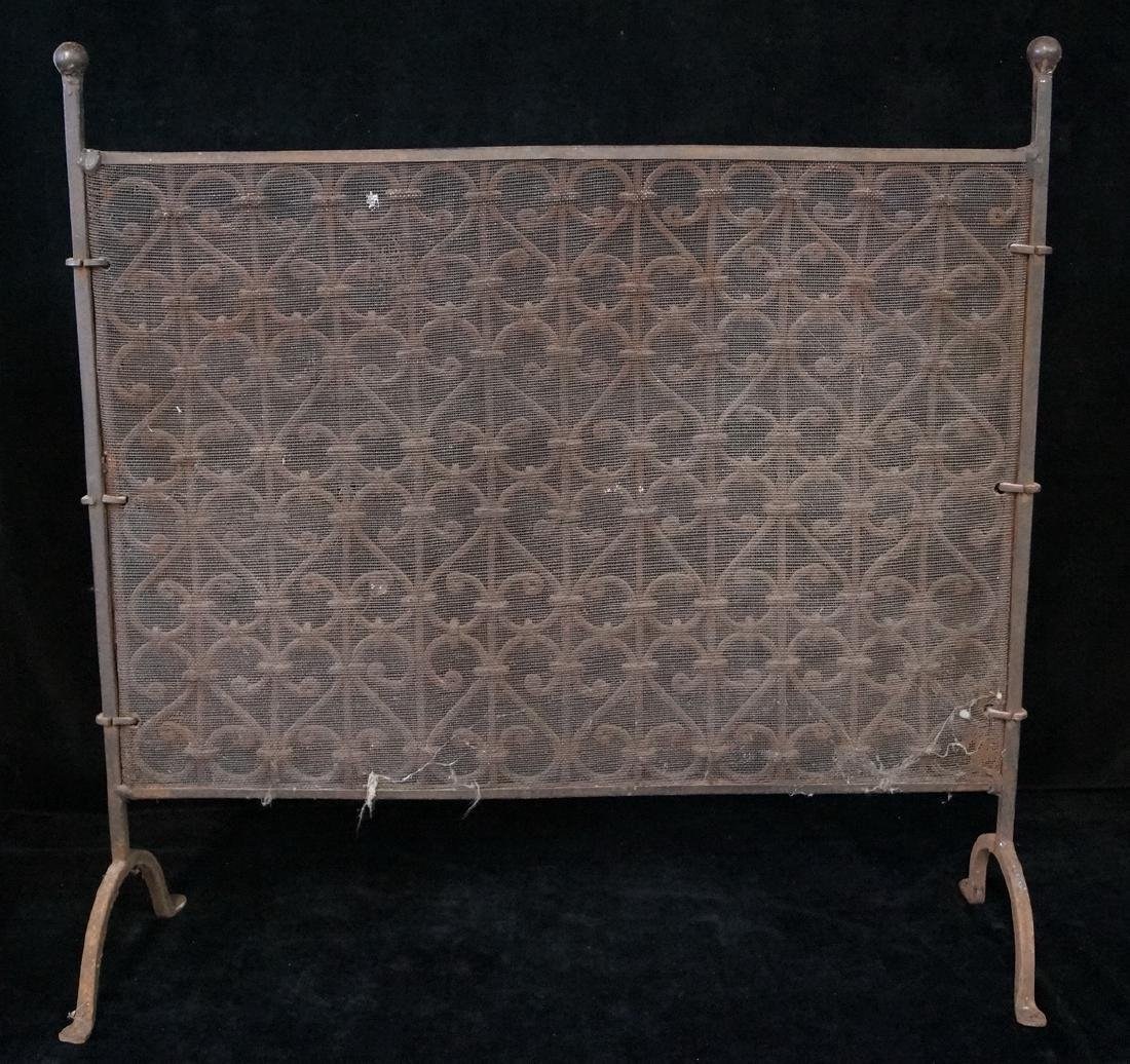 ANTIQUE WROUGHT IRON FIRE SCREEN - 4