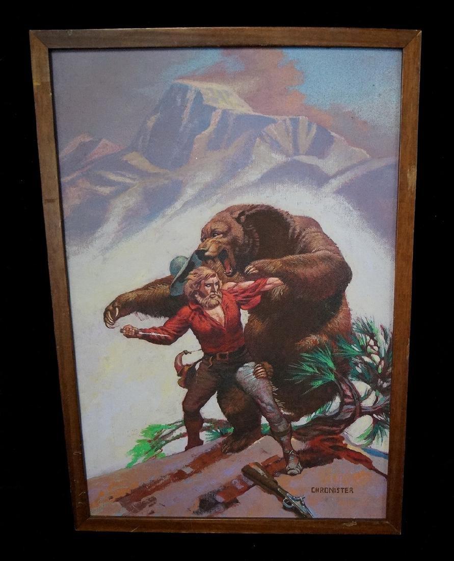 "CHRONISTER SGN. OIL ON CANVAS ILLUSTRATION ""BEAR FIGHT"""