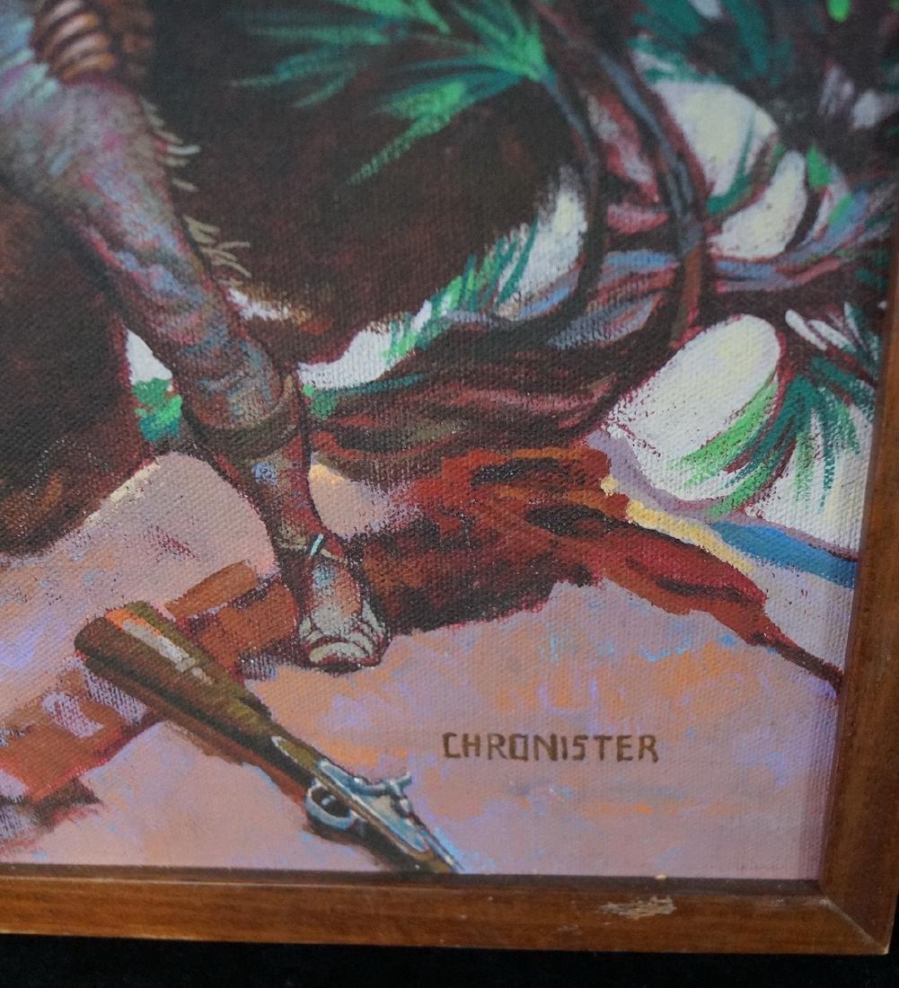 "CHRONISTER SGN. OIL ON CANVAS ILLUSTRATION ""BEAR FIGHT"" - 2"