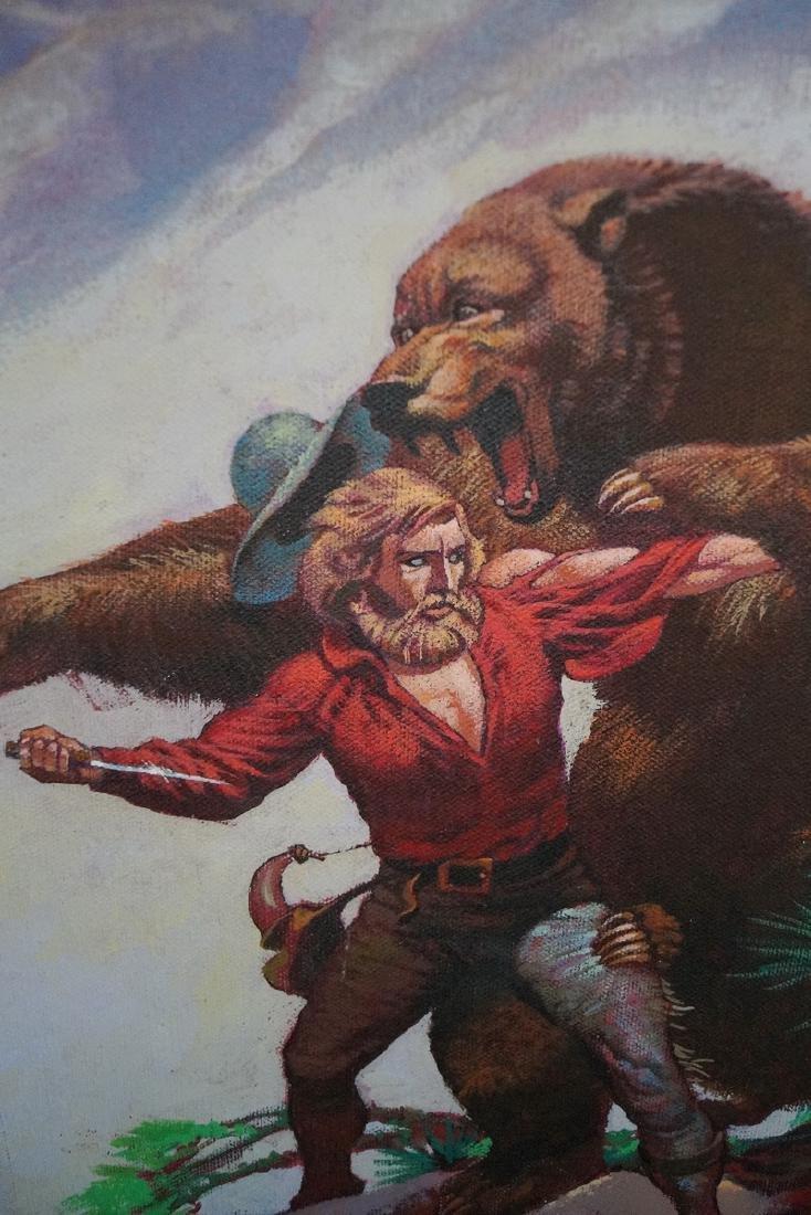 "CHRONISTER SGN. OIL ON CANVAS ILLUSTRATION ""BEAR FIGHT"" - 3"