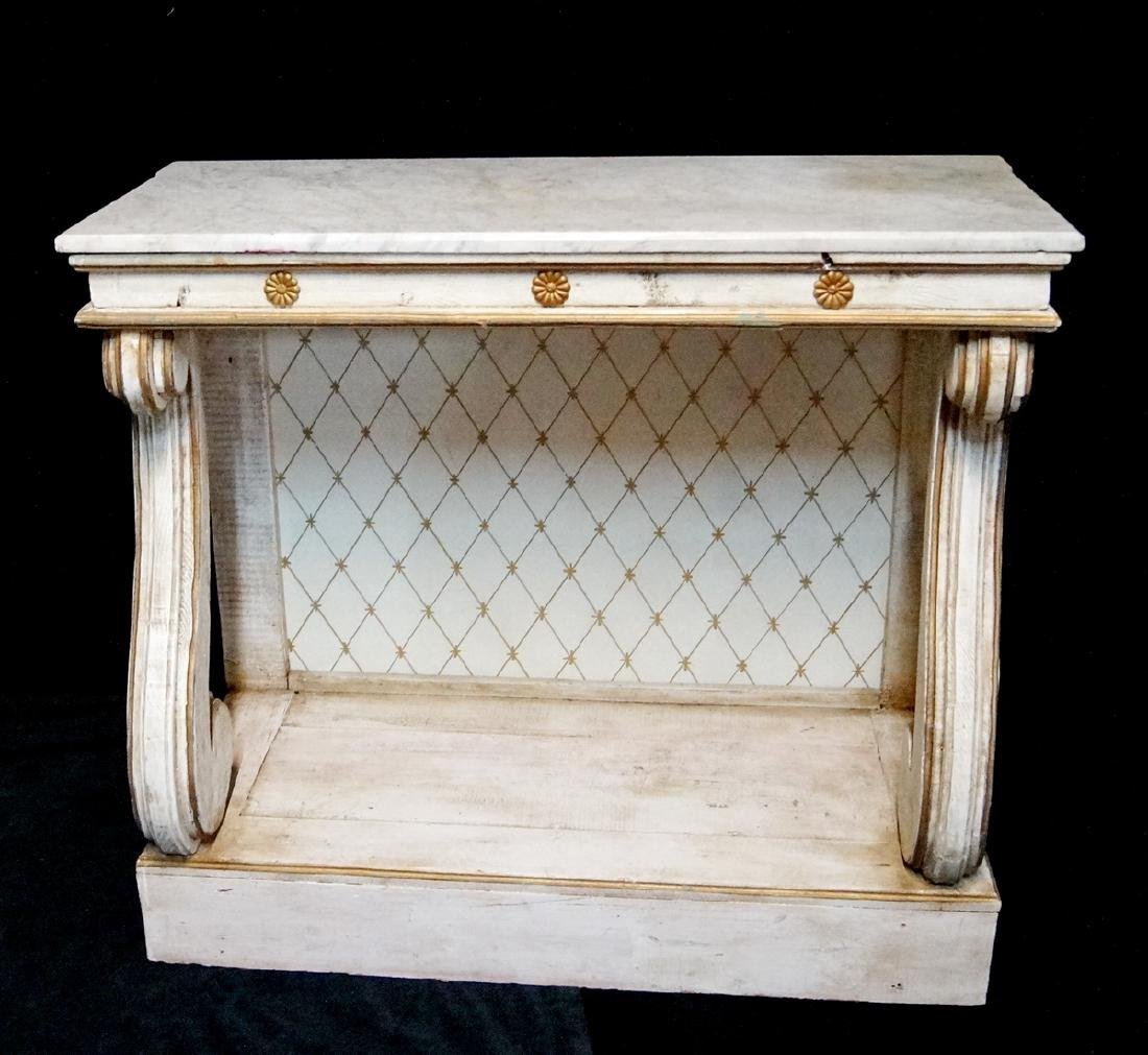 PAINTED MARBLE TOP PIER TABLE