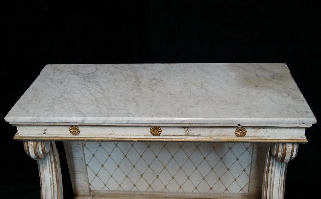PAINTED MARBLE TOP PIER TABLE - 2