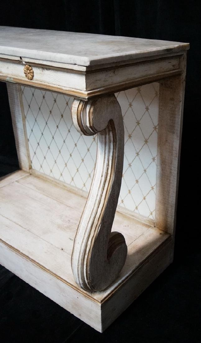PAINTED MARBLE TOP PIER TABLE - 3