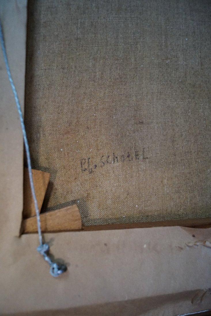 """E.L. SHOTEL (?) SGN. O/C """"SHIPS IN A HARBOR"""" - 6"""