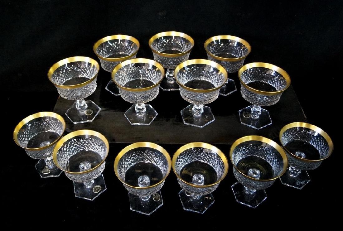 13 BAVARIAN CUT CRYSTAL GILT RIM SHERBETS - 2