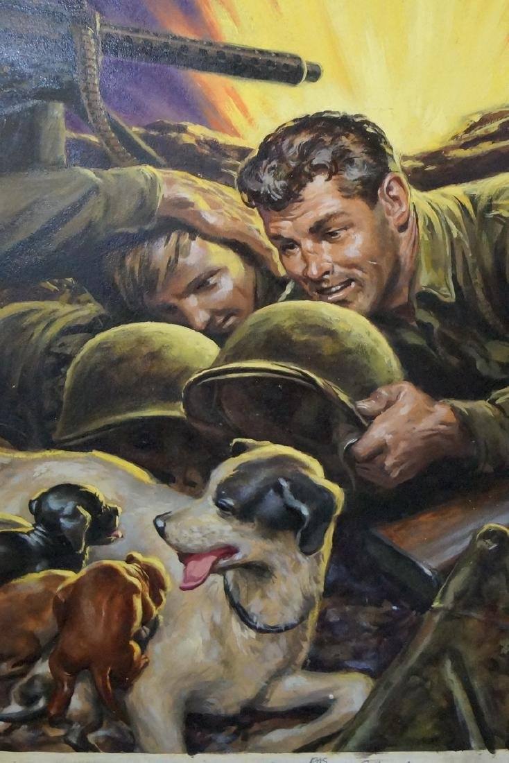 "MOORE (?) SGN. OIL ON ARTISTS BOARD ""PUPPIES IN THE - 2"