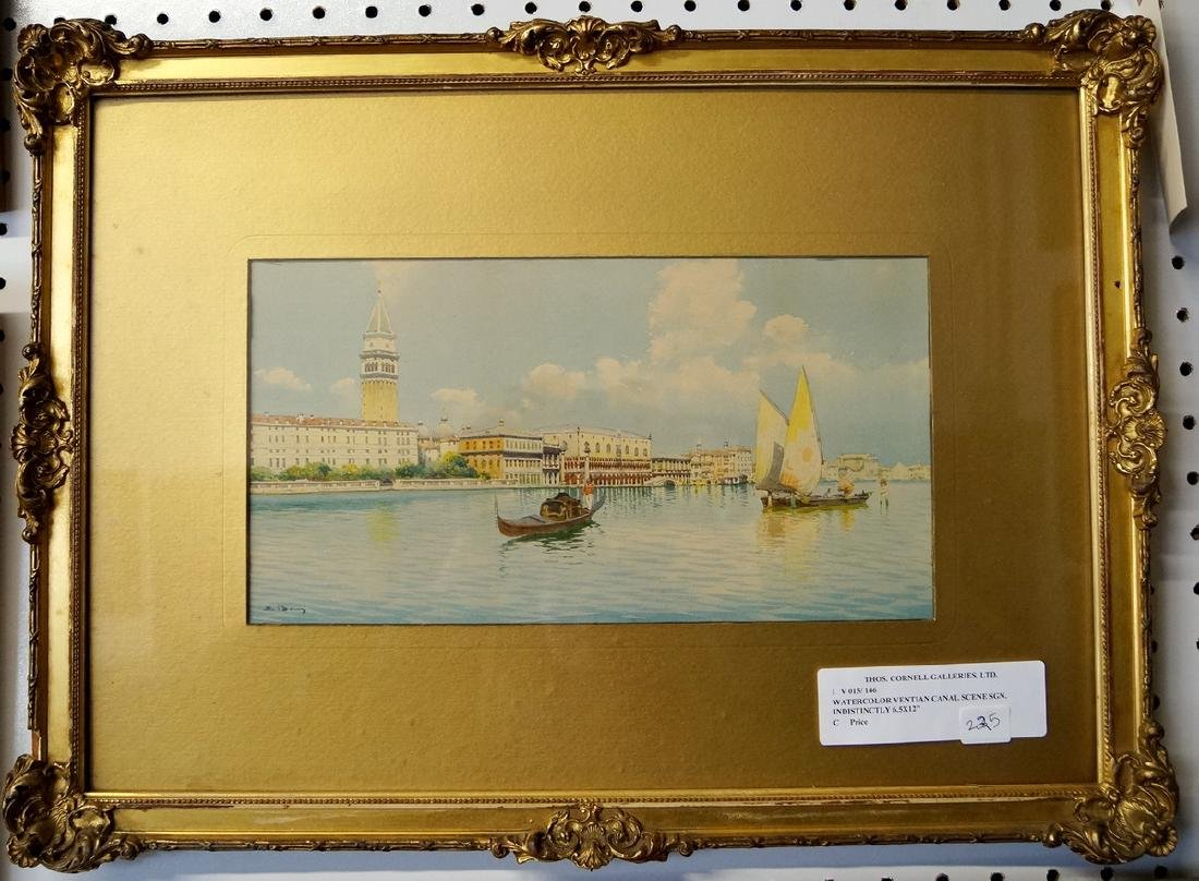 WATERCOLOR VENTIAN CANAL SCENE SGN. INDISTINCTLY