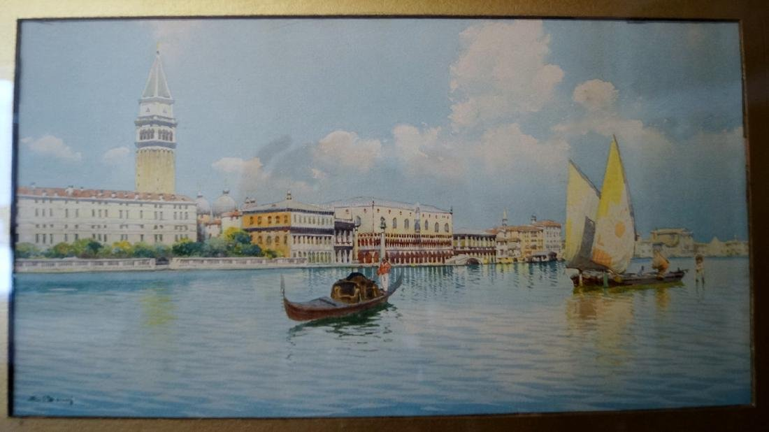 WATERCOLOR VENTIAN CANAL SCENE SGN. INDISTINCTLY - 2