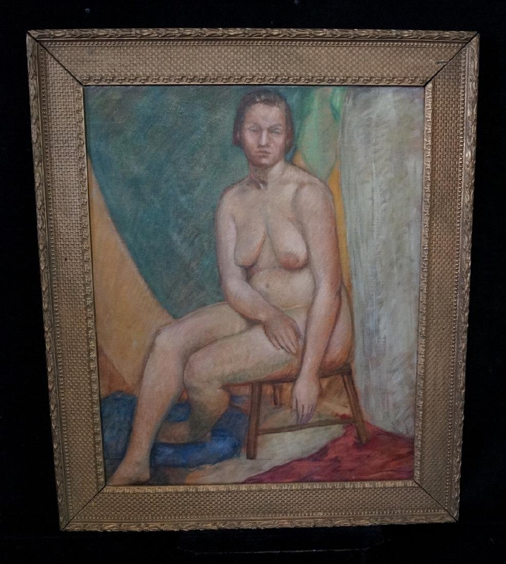 """BRYSON BURROUGHS OIL ON CANVAS """"NUDE STUDY"""" SGN. VERSO"""