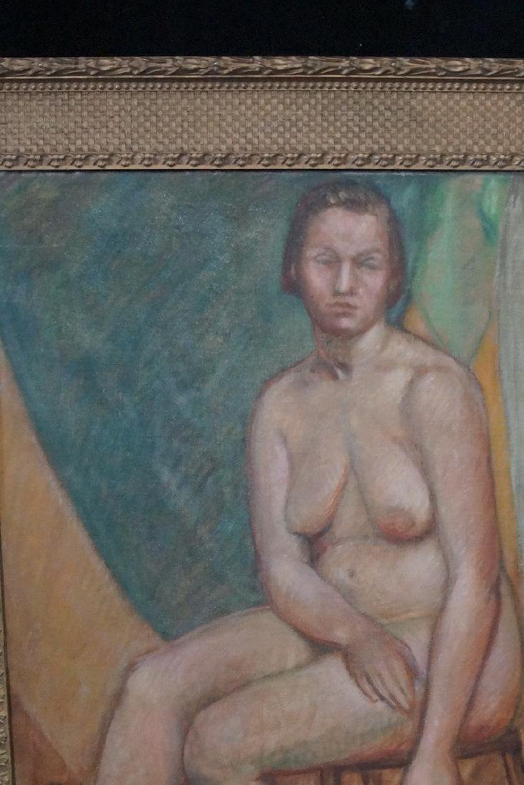 """BRYSON BURROUGHS OIL ON CANVAS """"NUDE STUDY"""" SGN. VERSO - 2"""