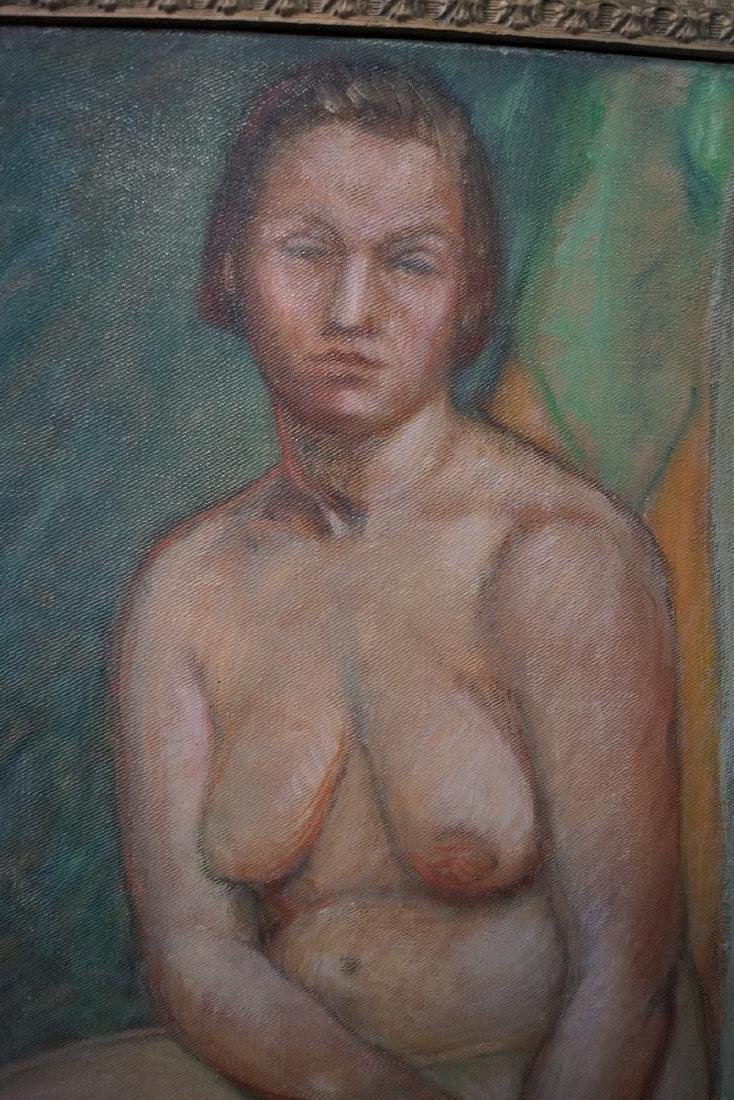 """BRYSON BURROUGHS OIL ON CANVAS """"NUDE STUDY"""" SGN. VERSO - 3"""