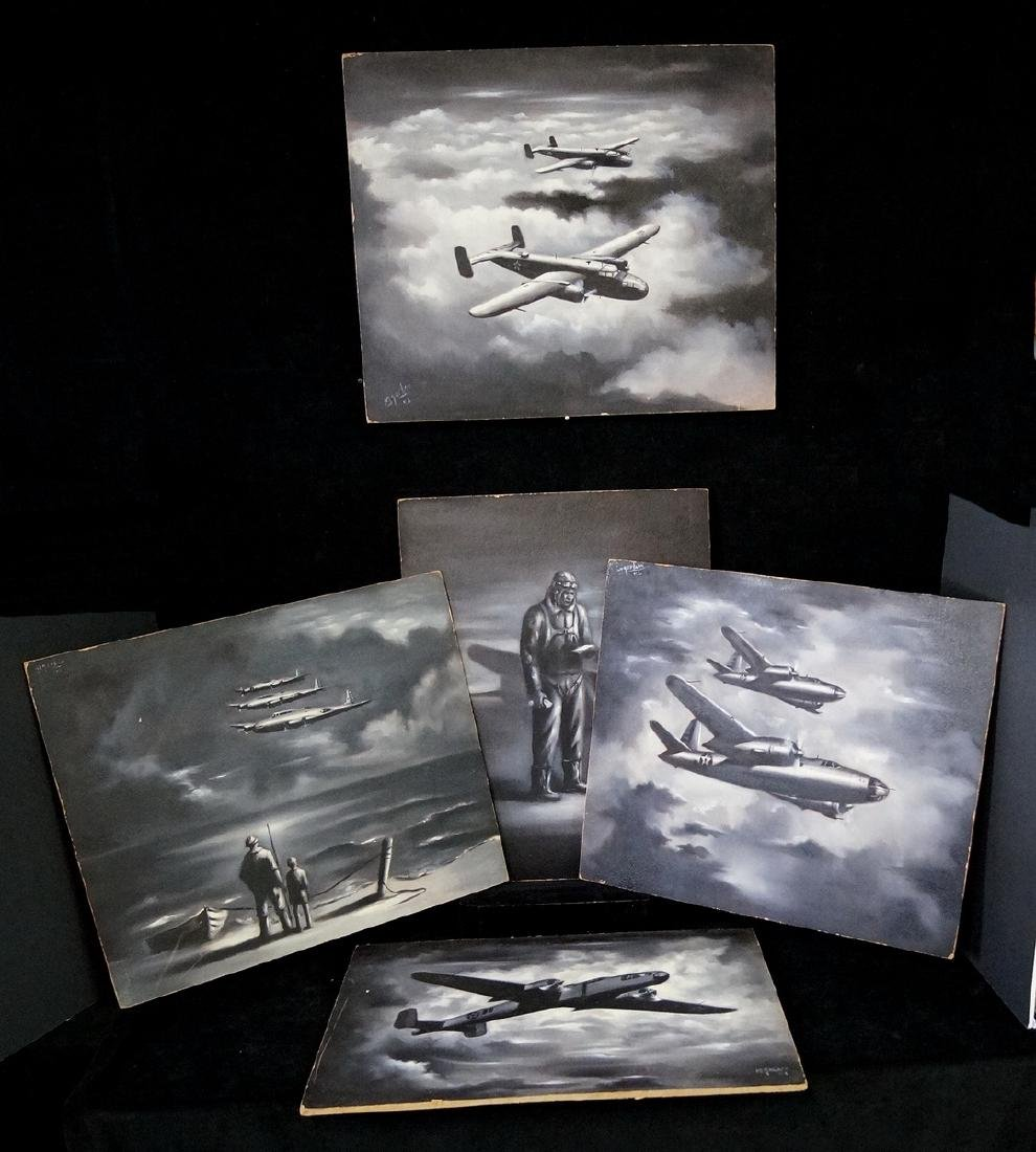 "M. GARHER (?) ILLUSTRATOR 5 PCS. ""WW II BOMBERS"""