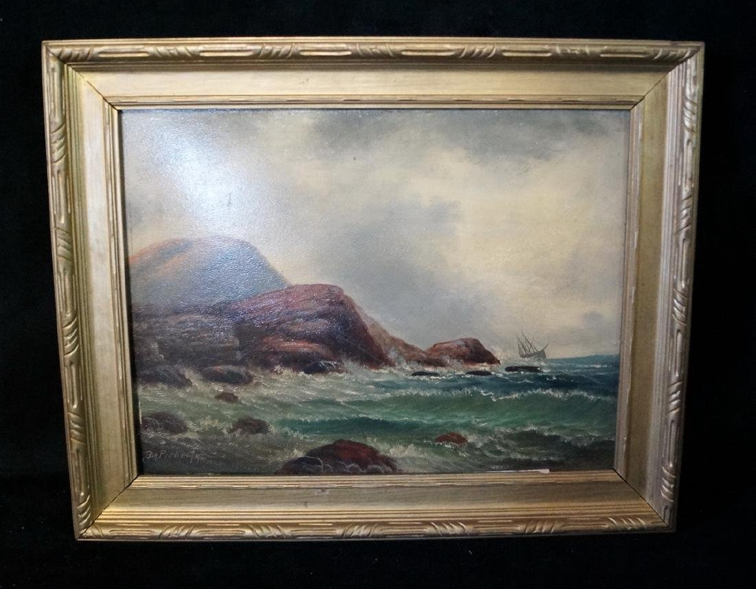 D.A. FISHER SGN. O/B COASTAL SCENE W/ CHOPPY SEAS