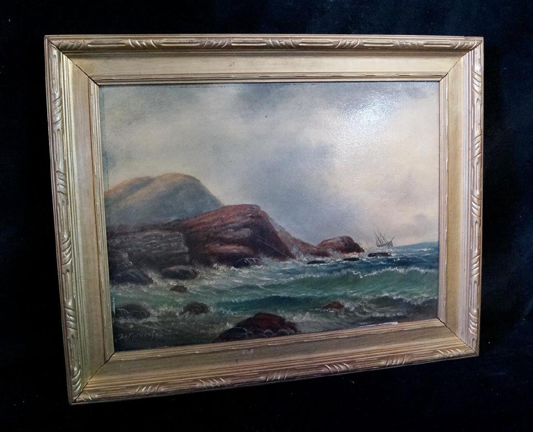 D.A. FISHER SGN. O/B COASTAL SCENE W/ CHOPPY SEAS - 2