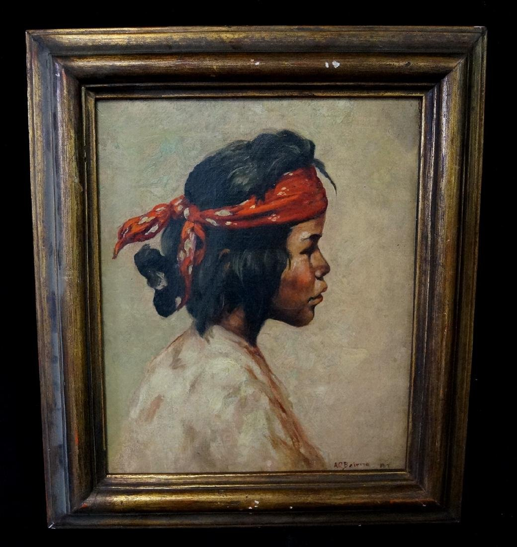 "A.C. BAIRNEL (?) OIL ON CANVAS  ""PORTRAIT OF A BOY W/"