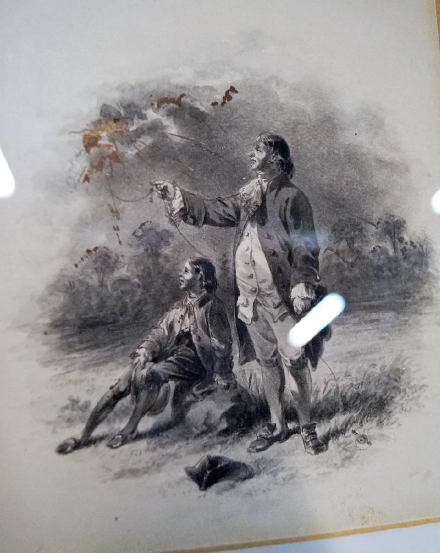2 WATERCOLORS GEORGE WASHINGTON & BENJAMIN FRANKLIN - 3