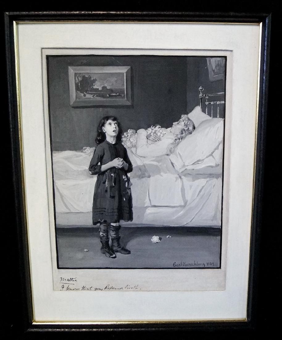 CARL HIRSCHBERG ILLUSTRATOR OIL ON ARTISTS BOARD 1884