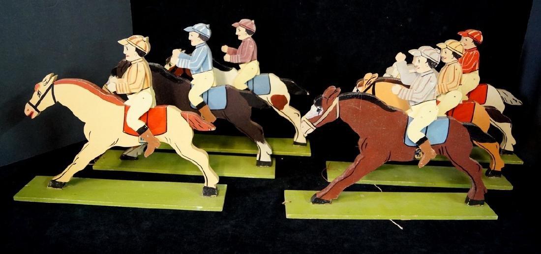 FOLK ART 6 JOCKEYS ON HORSE BACK