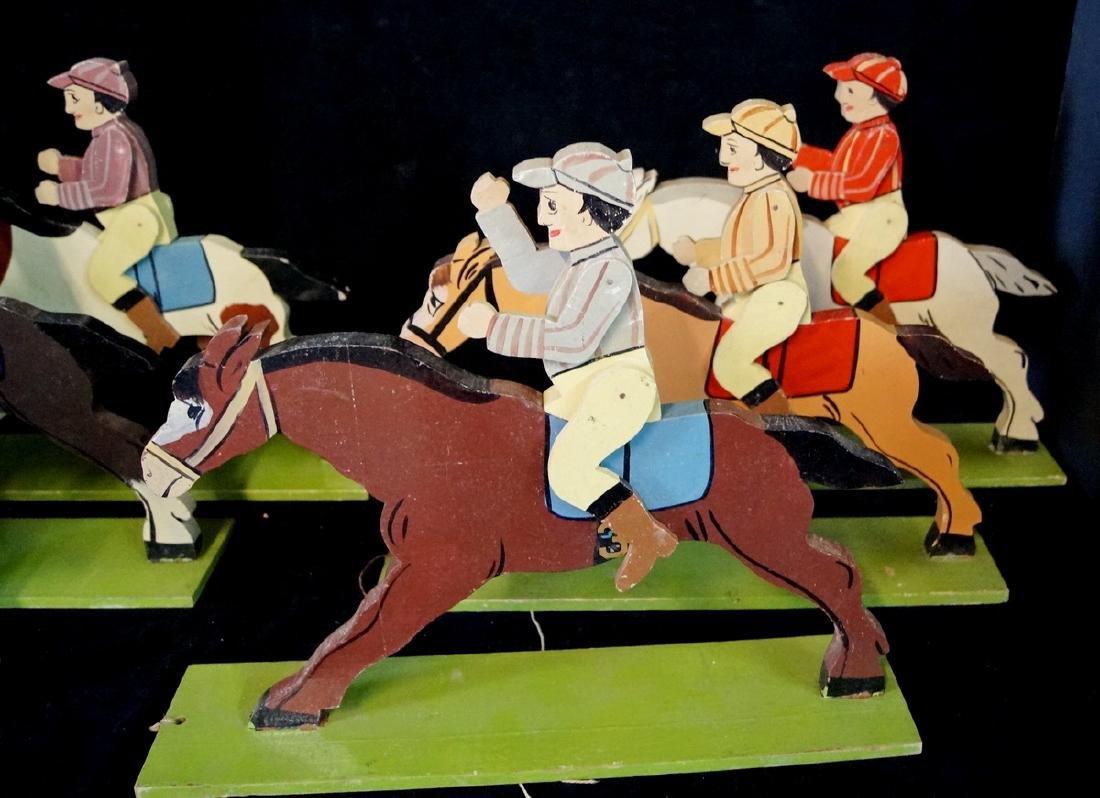 FOLK ART 6 JOCKEYS ON HORSE BACK - 2