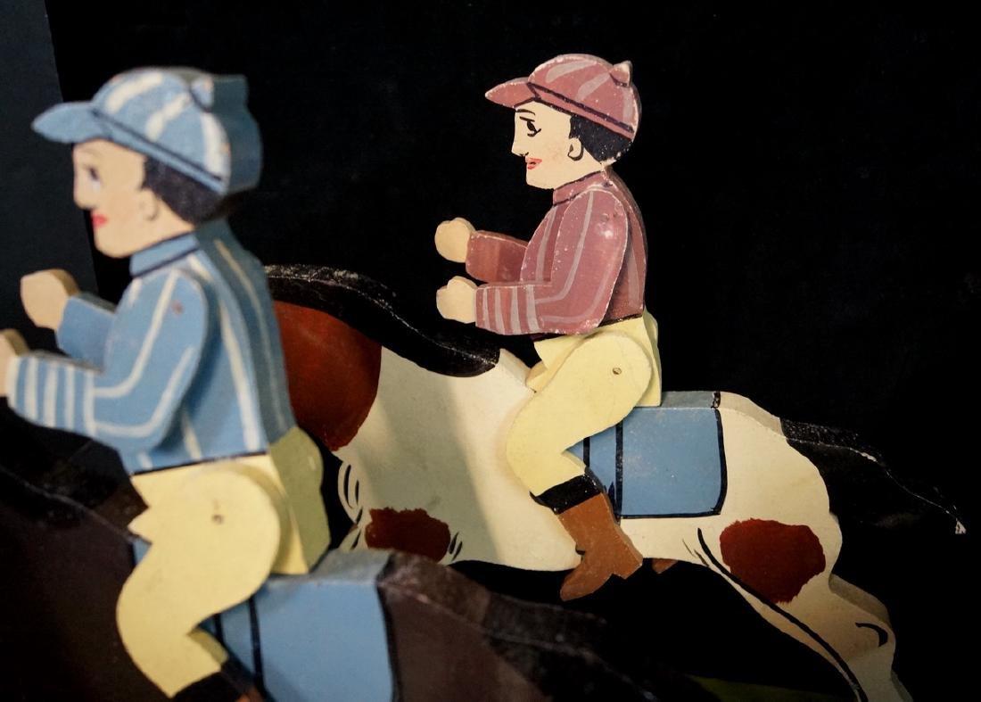 FOLK ART 6 JOCKEYS ON HORSE BACK - 3
