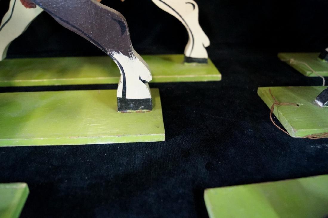 FOLK ART 6 JOCKEYS ON HORSE BACK - 6
