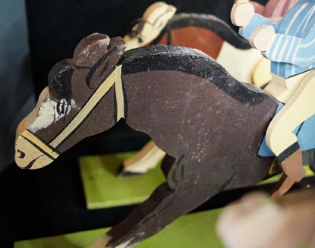 FOLK ART 6 JOCKEYS ON HORSE BACK - 8