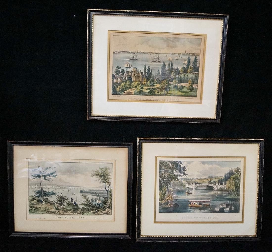 3 CURRIER & IVES PRINTS NEW YORK SUBJECTS