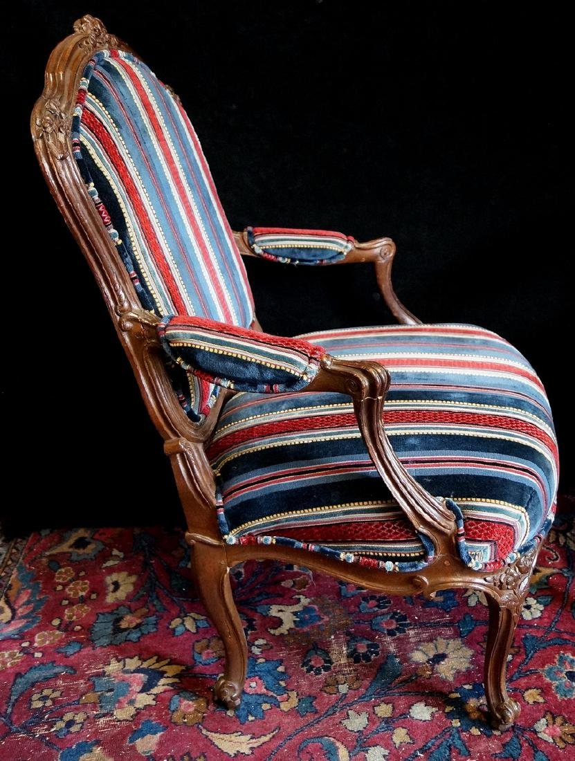 PR. OF CARVED AND UPHOLSTERED LOUIS XV STYLE ARM CHAIRS - 2