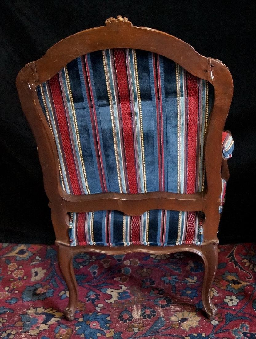 PR. OF CARVED AND UPHOLSTERED LOUIS XV STYLE ARM CHAIRS - 3