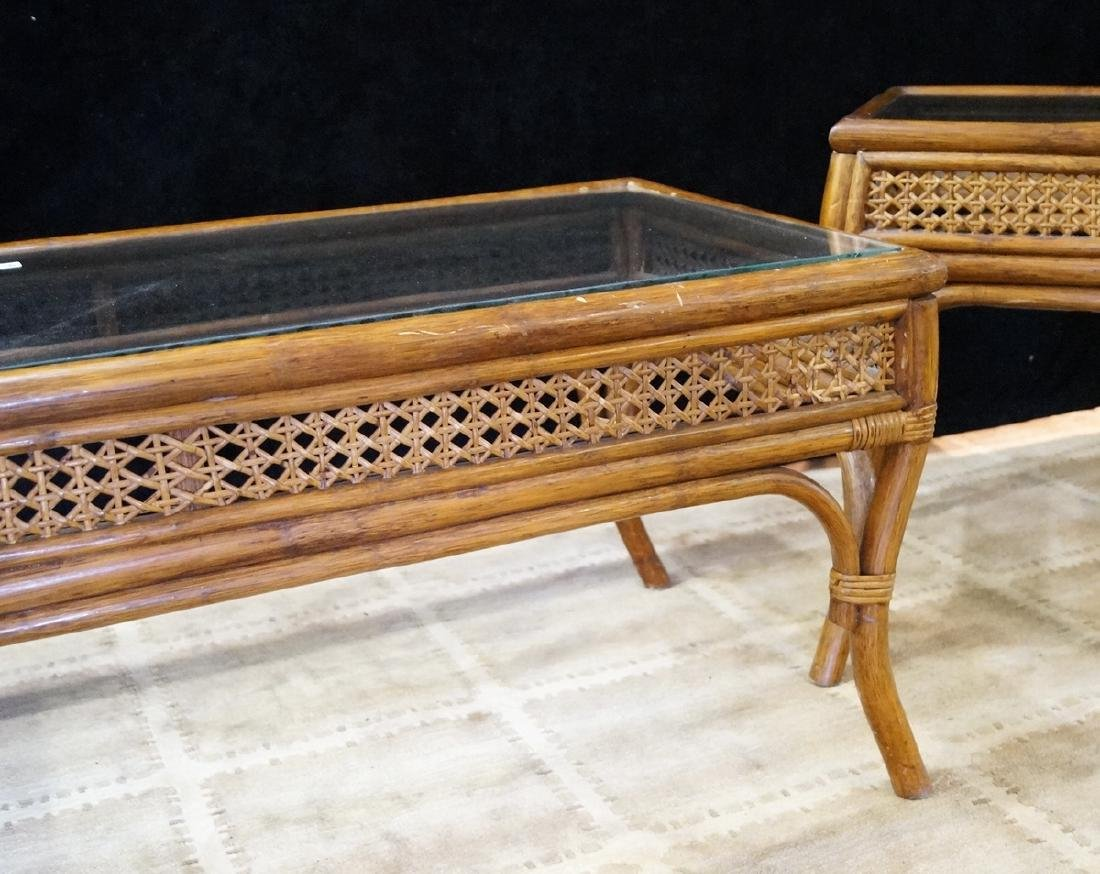 3 GLASS TOP RATTAN TABLES, 2 SIDE TABLES & 1 COCKTAIL - 5
