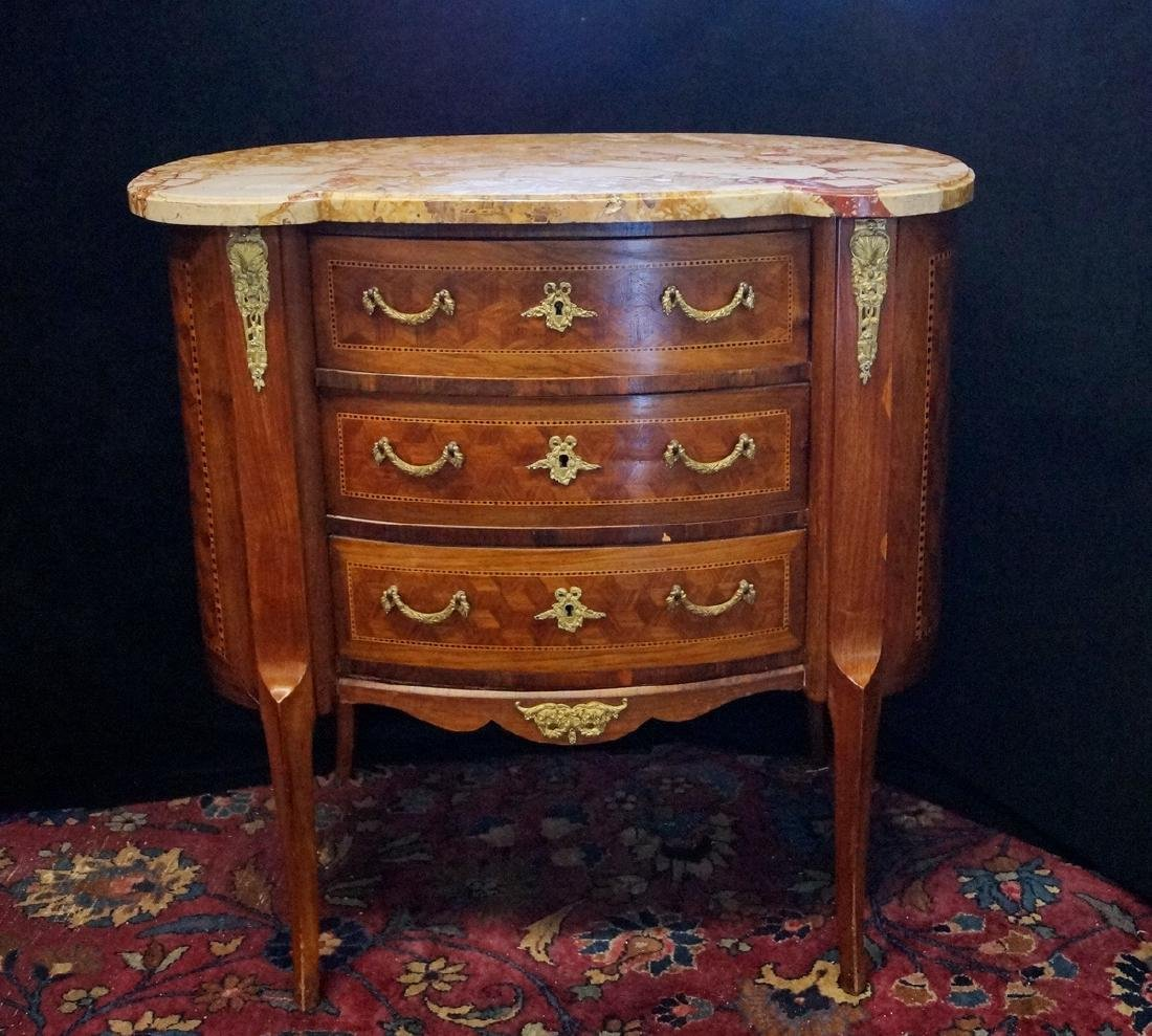 LOUIS XV STYLE BRONZE MOUNTED MARBLE TOP KIDNEY SHAPED