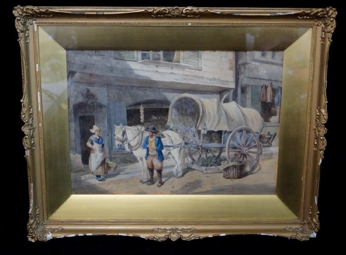 """W.E. MARSHALL SGN. WATERCOLOR """"TRAVELING SALESMAN"""""""