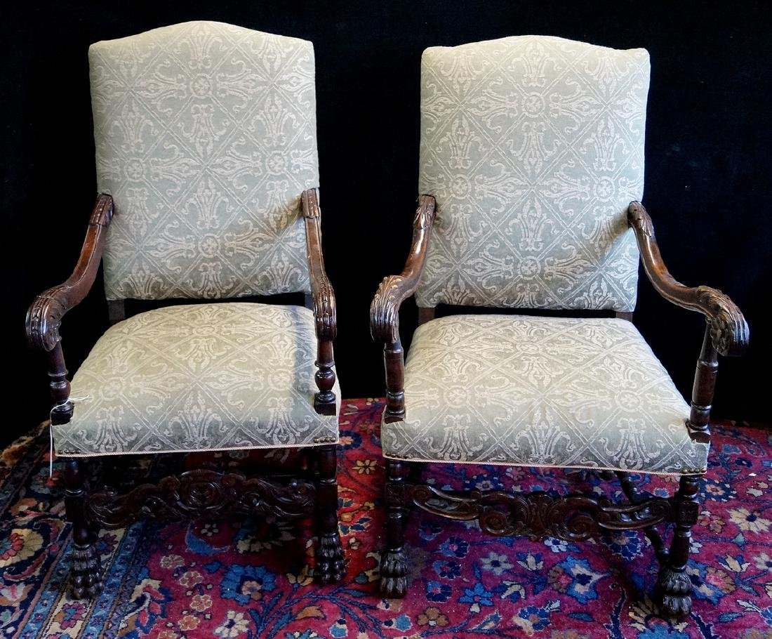 PR. UPHOLSTERED THRONE CHAIRS
