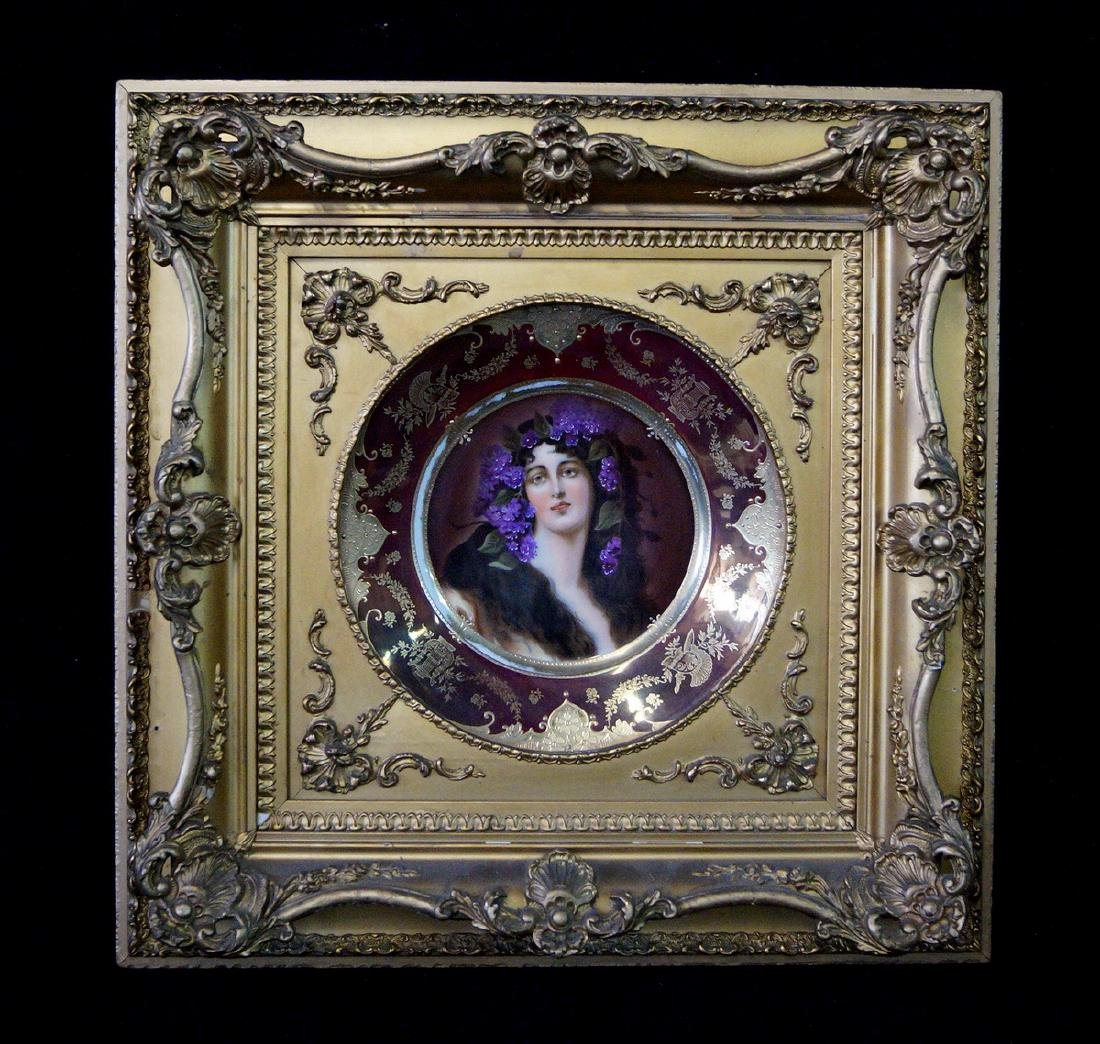 ROYAL VIENNA CABINET PLATE IN GILT FRAME