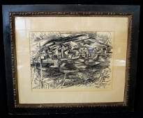 "CARSON DAVENPORT SGN. WOOD BLOCK PRINT ""CHICAGO LEAGUE"