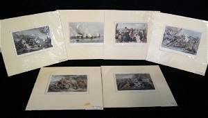 """6 19TH C. HAND COLORED PRINTS INC. """"BATTLE AT BUNKER'S"""