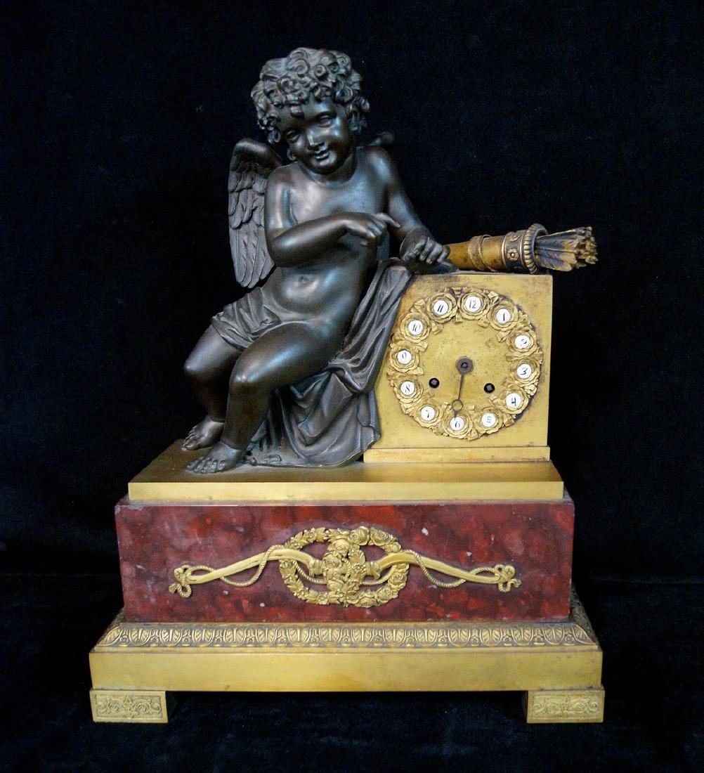 FRENCH BRONZE FIGURAL CLOCK