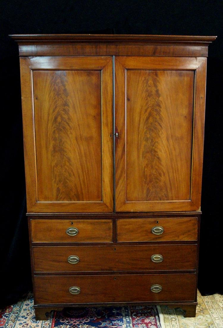 19TH C MAHOGANY LINEN PRESS W/ FEET REPLACED