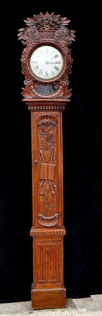 19TH C. FRENCH TALL CASE CLOCK W/ MUSICAL MOTIF