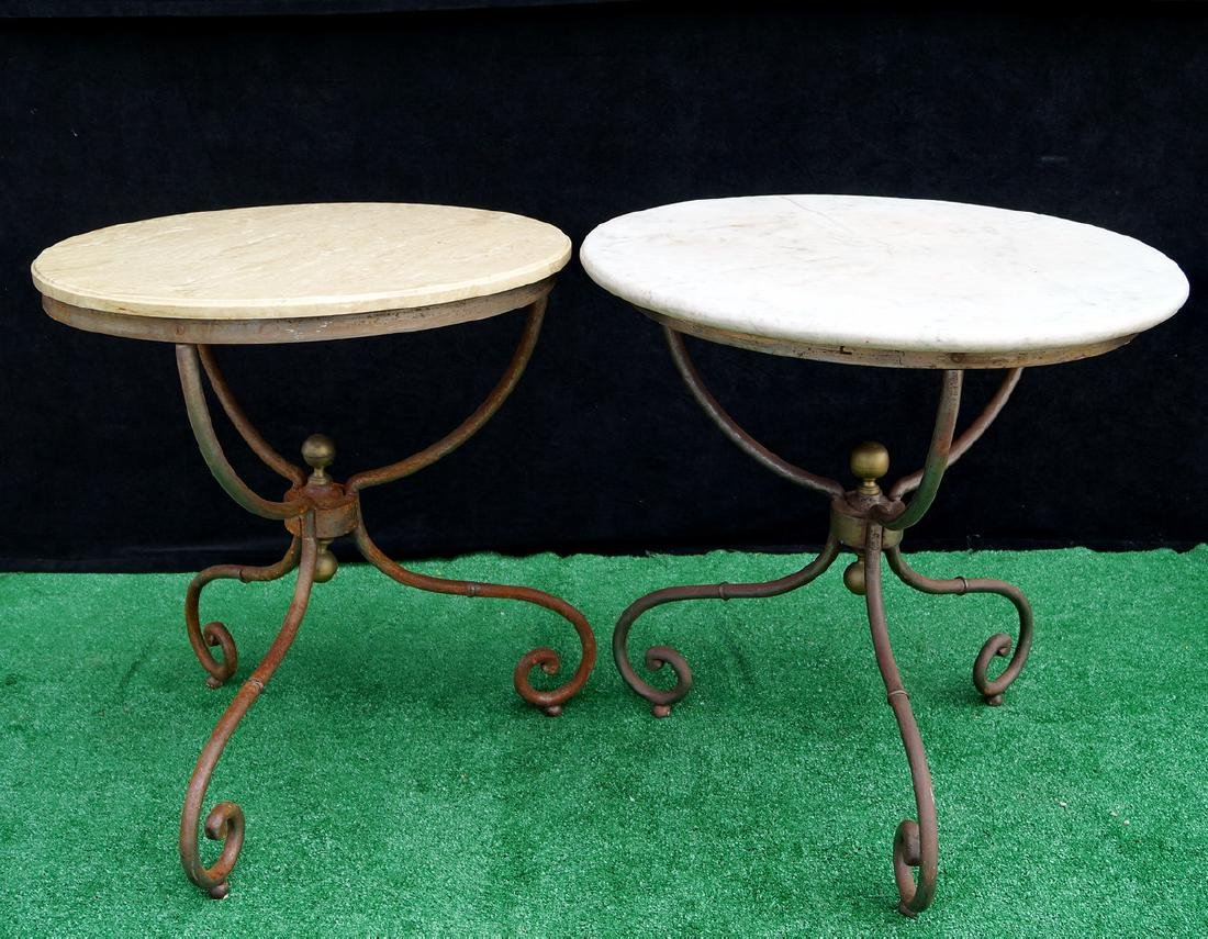 PR. MARBLE TOP IRON BASE TABLES