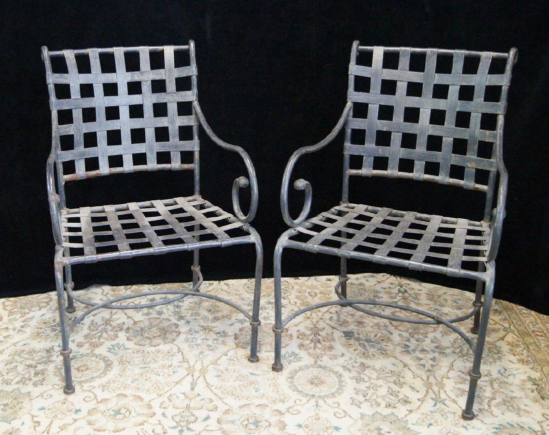 PR. WROUGHT IRON ARM CHAIRS